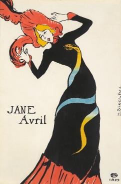 Henri Toulouse-Lautrec, Jane Avril, 1899, lithographic poster.